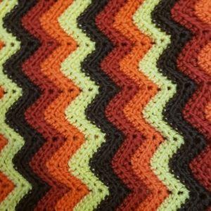 Vintage 70s 80s Chevron Granny Throw Blanket Crochet Knit Home Decor Cottagecore